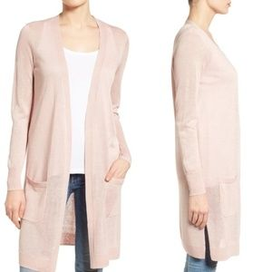 Halogen long linen blend open front cardigan pink